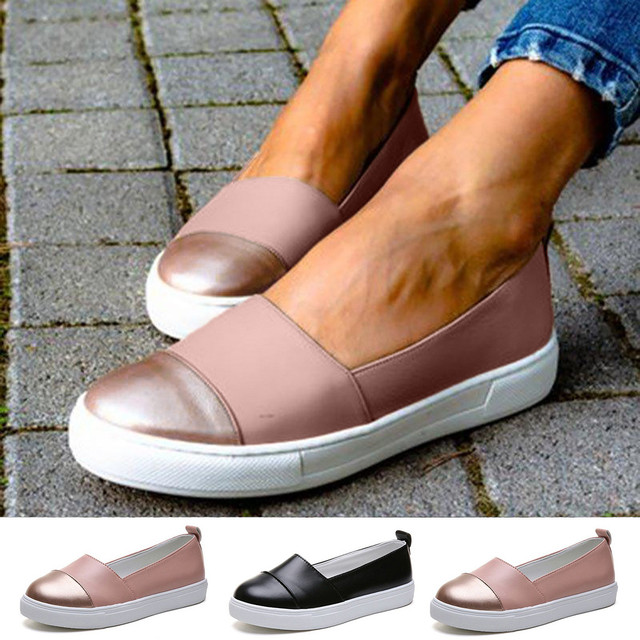 Solid Colors Shallow Mouth Leather Shoes Women Flats Bottom Round Toe Ladies Fashion Casual Loafers Roman Style Boat Sandals