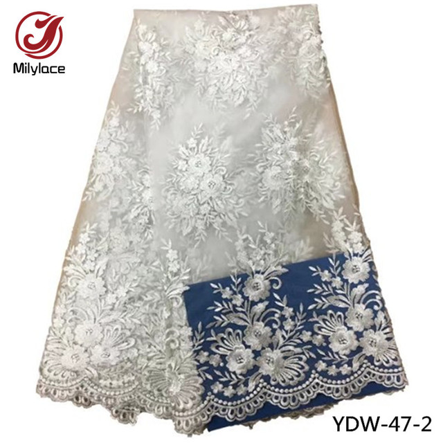 Bridal lace fabric wholesale nigerian tissue lace fabric high quality african french tulle lace fabric for wedding YDW-47