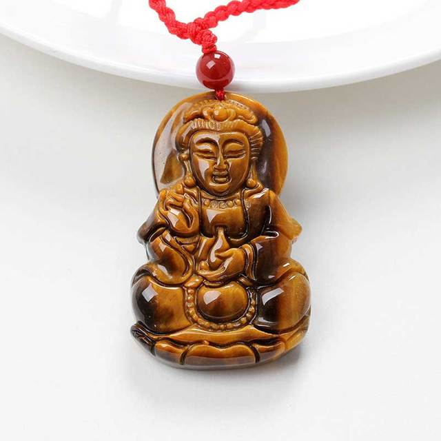 KYSZDL Natural huang tan eye stone carving Guanyin pendant fashion tiger eyes stone pendant jewelry free necklace rope