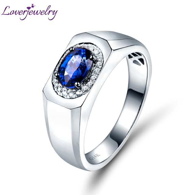 LOVERJEWELRY Ring Natural Blue Sapphire Diamond Wedding Men's Ring Solid 14K White Gold Engagement Fine Jewelry For Husband Gift