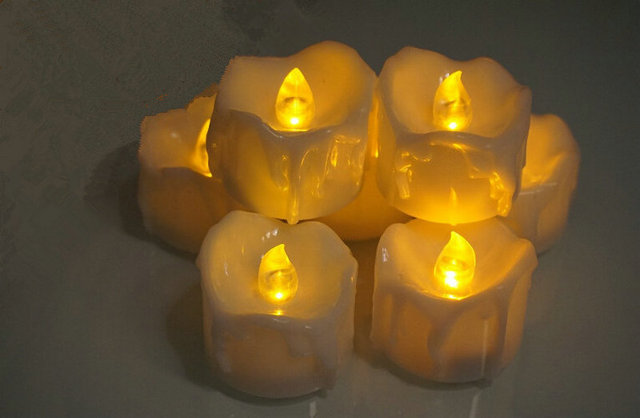 36PCs Flickering Flameless LED Tea Light dipped Wax Dripped Battery Operate Electronic Candles drop tear Wedding Xmas Home Party