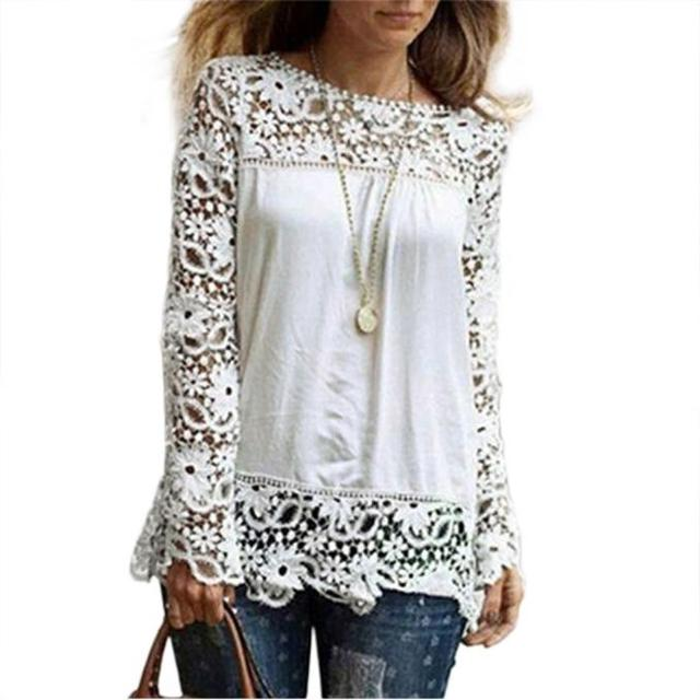 2019 Summer Blouse Women Fashion Womens Long Sleeve Shirt Casual Lace Blouse Loose Cotton Tops  Shirt Blusas Mujer De Moda 2019
