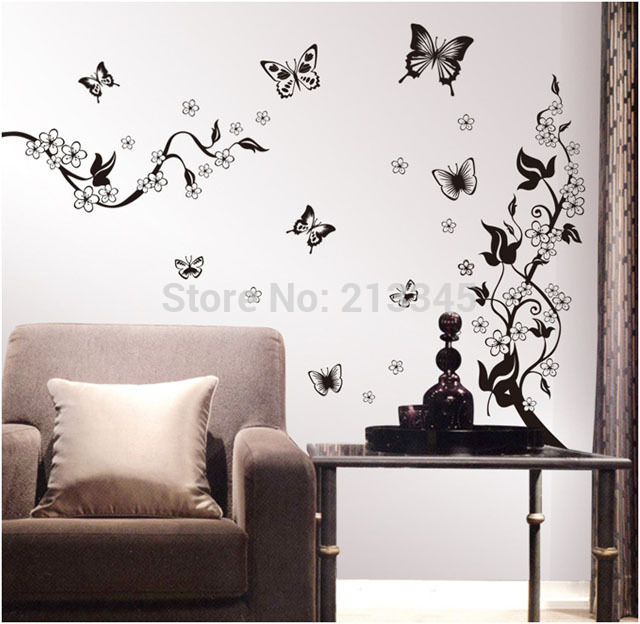 [Fundecor] new arrival black art wall decal butterfly fly flower home decor stickers removable wall paper mural 6731