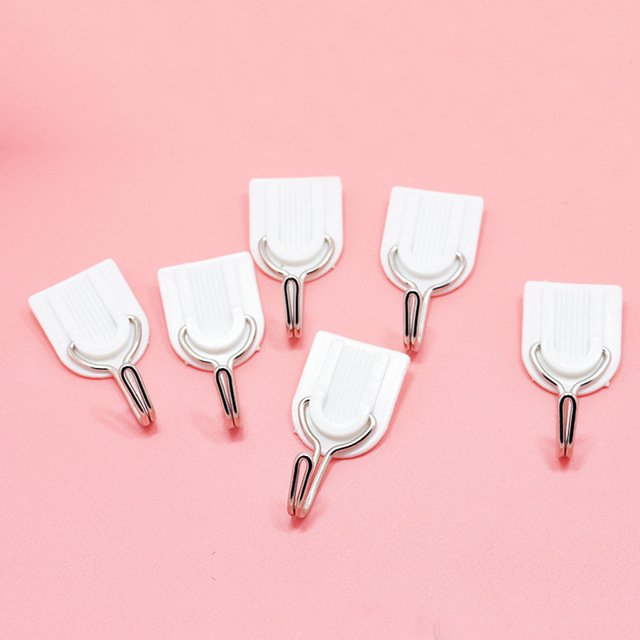 6Pcs Self Bathroom Kitchen Hooks for Hanging Adhesive Hooks Stick On Wall Hanging Door Clothes Towel Handbag Holder Wall Hanger