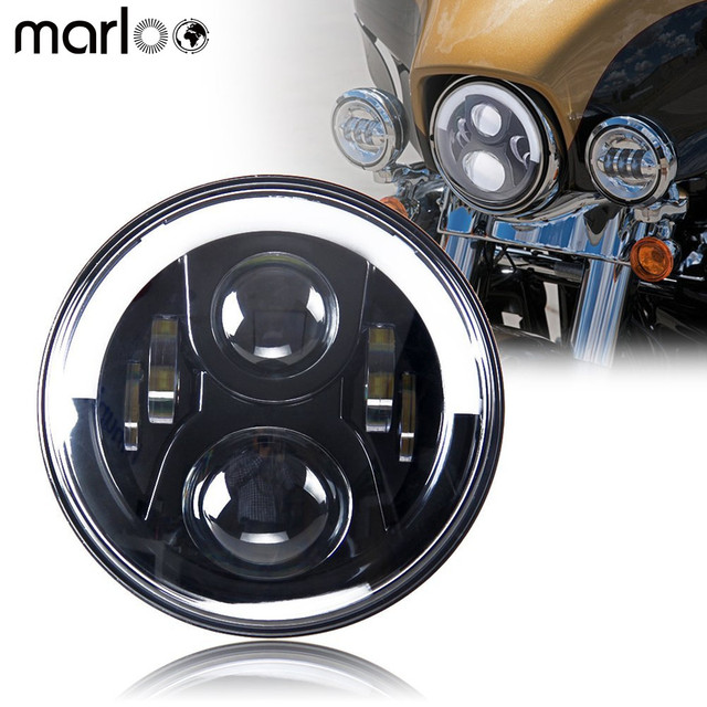 Motorcycle 60W 7 Inch Led Headlight White DRL Amber Turn Signal Headlamp For Lada Niva 4X4 offroad Car Accessories