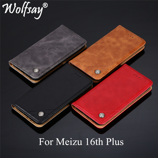 Wolfsay For Meizu 16th Plus Case Triangle Pattern Flip Cover PU leather & Soft TPU Inside Cases for Meizu 16 Plus Without Magnet