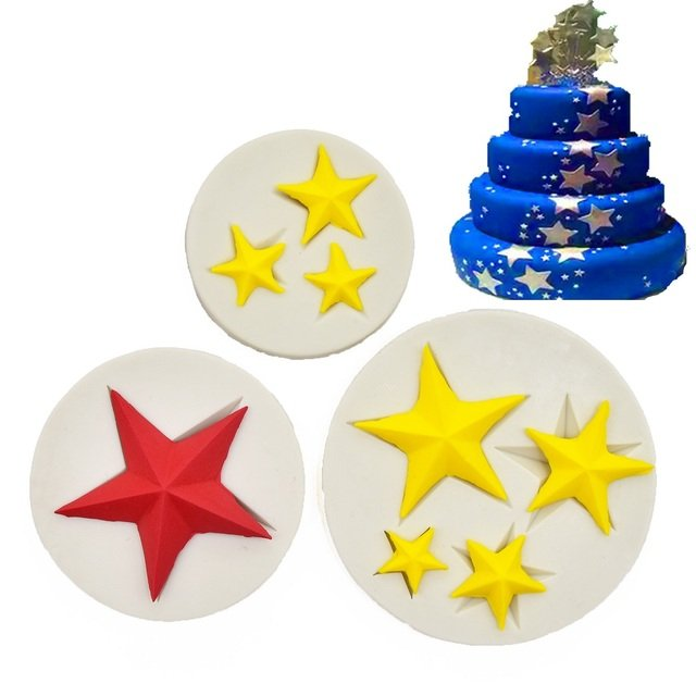 LINSBAYWU Star Shape 3D Silicone Mold Cake Baking Decorating tools Clay Resin sugar Candy Fondant Baking Moulds