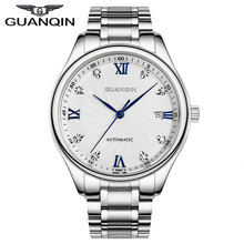 GUANQIN Men's Business Luxury Gold Watches Full Steel Diamond Mechanical Watch Japan Movement relogio relojes