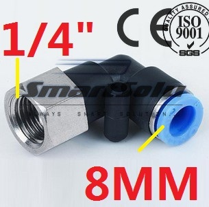 """Free Shipping 100pcs/lot  Female Elbow PLF 8MM Tube Push in 1/4"""" Thread One Touch Air Fitting Joint Coupler Pipe Connect PLF8-02"""