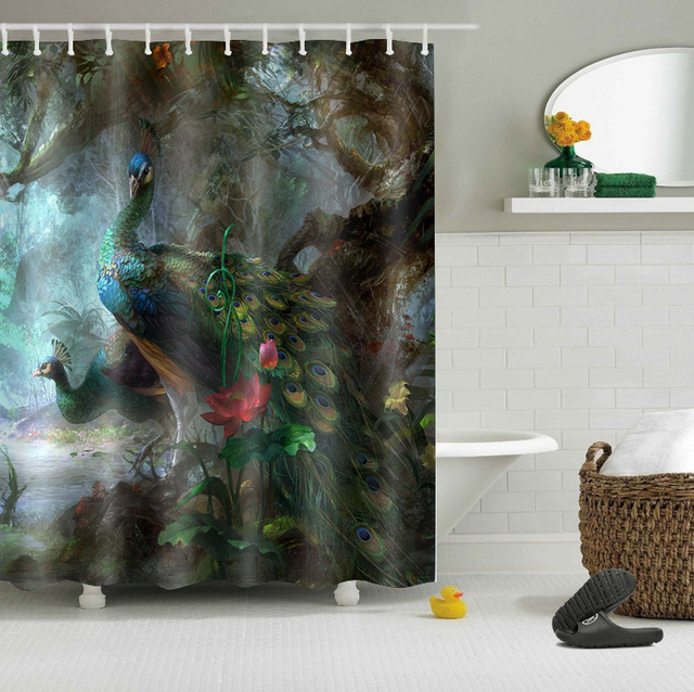 72'' Custom Beautiful Peacock Feather Tail F Forest Bathroom Shower Curtain Polyester Bathroom Waterproof Curtain & 12 Hooks