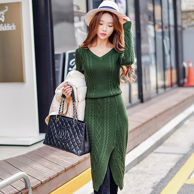 Original 2016 Brand Knitted Dress Long Autumn Winter  Slim Elegant Casual Solid Warm Maxi Sweater Dresses