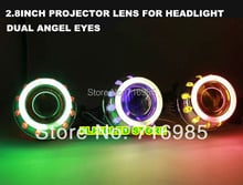 2.8 Inch Dual  Angel Eyes Bi-Xenon Projector Lens Headlight  Suitable For H1 H4 H7 Original Bulb