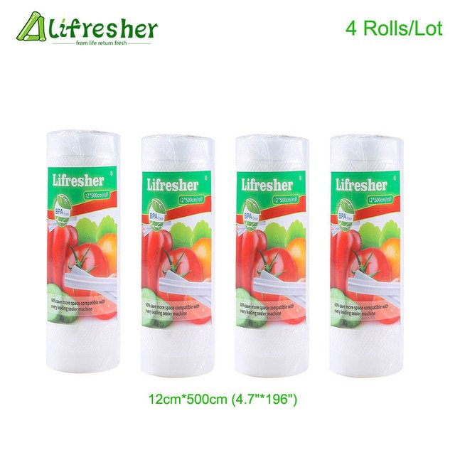 Lifresher 3 Rolls/Lot Vacuum Bags For Food Vacuum Bag Storage Kitchen Packaging Sealing Plastic Sealer Roll 12 15 20 25 28*500cm