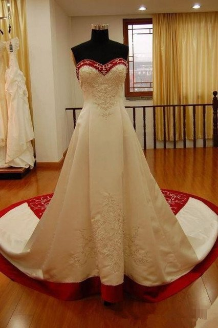 White And Red Satin Embroidery A Line Wedding Dresses Strapless sweep Train Lace Up Real Photos 2019 Vintage Church Bridal gown