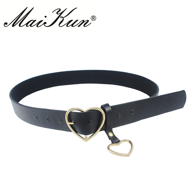 Maikun Women Belts Harajuku PU Leather Thin Belts for Women Heart Buckle Female Belt Waistband for Jeans Dress