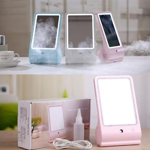 LED  Makeup Mirror with Sprayer Mist Facial Nano Humidifier Steamer Facial Steam Unique Rechargeable Make up Mirror Skin Care