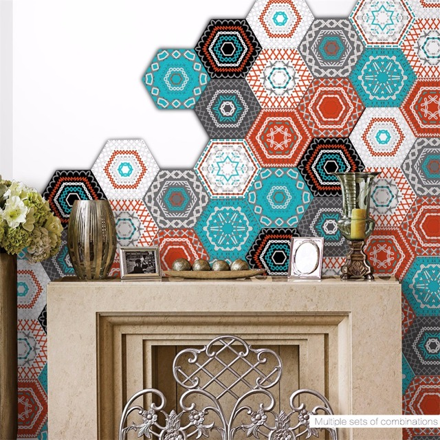 "Yanqiao Colorful Embroidered Pattern Hexagon Floor Sticker DIY Tiles Kitchen Backsplash Decor Removable 9x7.87"" X 10 Pcs"