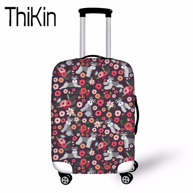 """THIKIN Travel Accessories Schnauzer Pattern Luggage Protective Covers Apply to 18-30"""" Case Thick Elastic Dust Rain Bag Covers"""