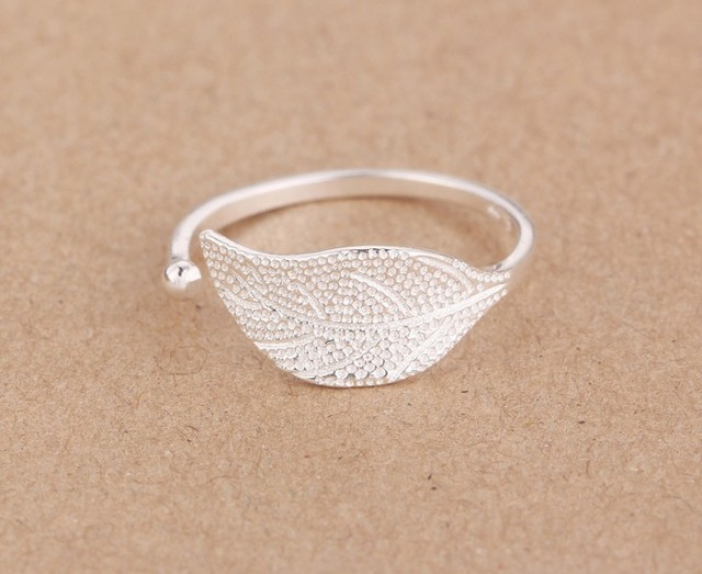 Shuangshuo Silver Plated Leaf Ring Jewelry for women Fashion Jewelry Women Adjustable Feather Female ring Wedding gift
