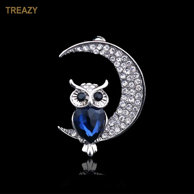 Lovely Owl on Moon Brooch Fashion Full Rhinestone Brooches Blue Crystal Animal Brooch Pin Birthday Party Christmas Gift
