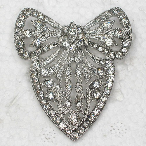 12pcs/lot Wholesale Fashion Brooch Rhinestone Bowknot Flower Pin brooches in 5 colors C101741