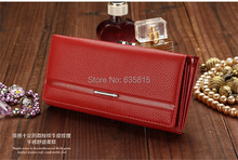 New Fashion PU Leather Women Wallet Solid Embossed Litchi Grain Hasp Wallets Ladies' Long Clutches Coin Purse Card Holder