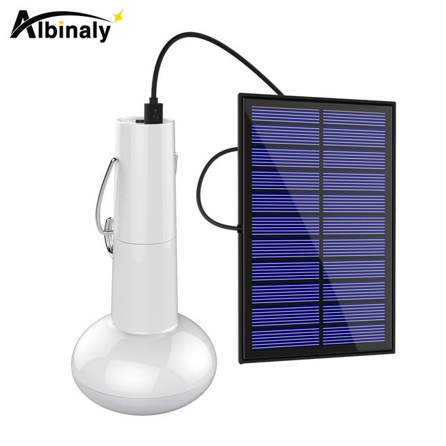 Albinaly Portable Solar Powered LED Light Bulb Lamp with Waterproof Solar Panel for Home Emergency Camping Hiking Tent Lighting