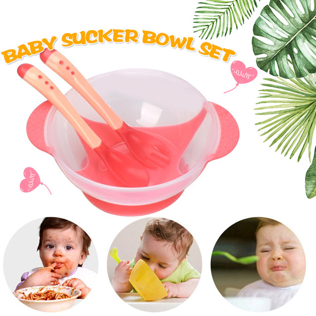 Assist Food Bowls Training Dishes Cup Baby Kids Tableware Spoon 3pcs Pink/Yellow/Blue PP Feeding Bowl Rice Noddle Durable