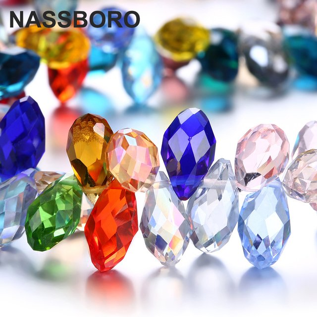 6x12MM Oval Faceted Czech Crystal Beads With Hole Shiny Briolette Teardrop Of Transparent Glass Beads For Jewelry Making DIY