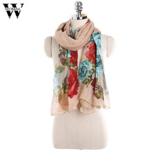 2017 Women Ladies Flowers Print Pattern Lace Long Scarf Warm Wrap Shawl