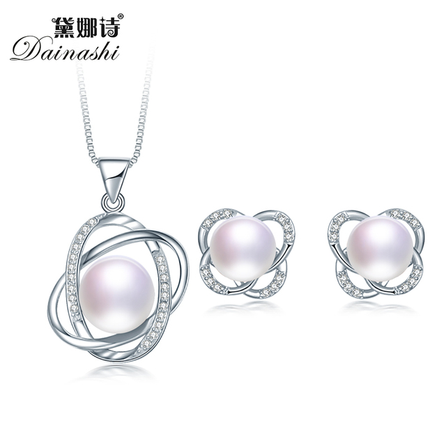 100% Real Natural Pearl Jewelry Set For Women 2019 Cross Pendant Necklace and Earrings Sets, 925 Sterling Silver Jewelry Set