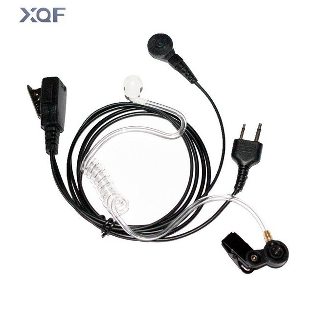 Covert Acoustic Tube Earphone With In-line Clip PTT Mic for ICOM Two Way Radios F3G, F4G, F11, F11S Walkie Talkie