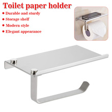 Shelfs Walls Mount Toilet Paper Holder Aluminum Tissue Paper Holder Toilet Roll Dispenser With Phone Storage Shelf for Bathroom