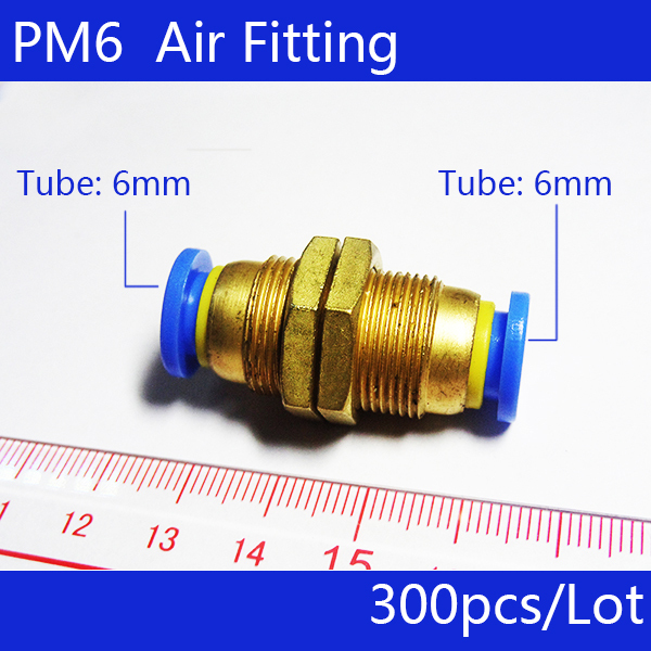 Free shipping HIGH QUALITY 300Pcs 6mm Pneumatic Air Valve Push in Quick Fittings Adapter PM6