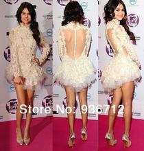 Selena Gomez Dress High Collar Top See-through Sexy Open Back Mini Prom Short Evening Red Carpet Prom Celebrity Dresses SF0795