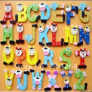 Free Shipping 26 alphabet  Wooden Colorful Cartoon Fridge Magnets/Refrigerator sticker/cute Magnetic sticker/ 130pcs/lot