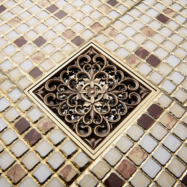 Free Shipping Wholesale and Retail Antique Brass Art Carved Flower Bathroom Floor Waste Grate Shower Drain Drainer