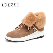 LDHZXC 2019 new Women Winter Shoes Women's Ankle Boots The Fashion Casual Fashion Flat Warm Woman Snow Boots