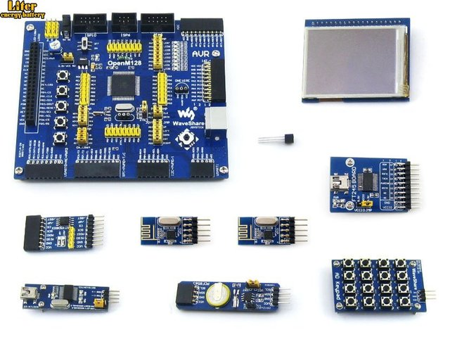 ATMEL AVR Development Board ATmega128A-AU 8-битный RISC AVR ATmega128 Development Board Kit + 9 комплектов аксессуаров = OpenM128 Package A