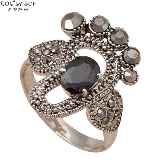 Amazing  Footprint Designers silver color filled black Crystal Rings fashion jewelry USA Size #6 #7 #8.5 Anniversary JR1967