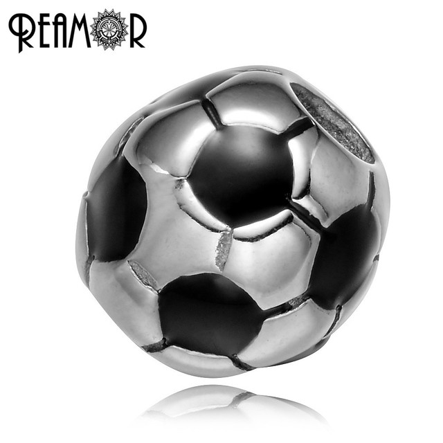 REAMOR 316l Stainless Steel Football Soccer European Big Hole Beads Fit Original Strand Bracelet DIY Jewelry Making