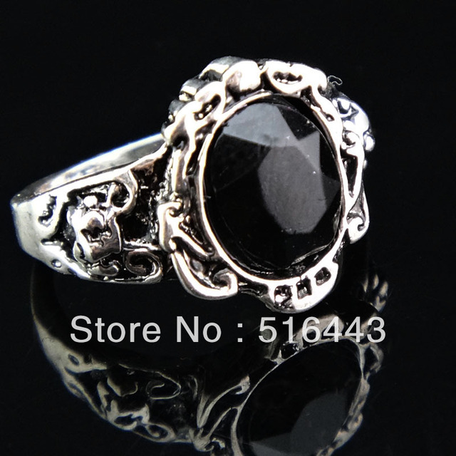 Charms 12pcs Antique Silver Stone Vintage Rings For Womens Mens Wholesale Jewelry Lots Free Shipping A-904