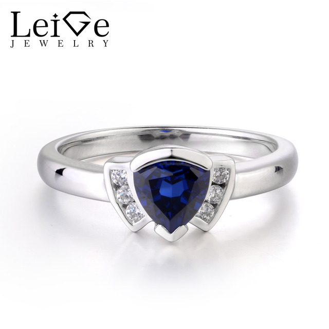 Leige Jewelry Blue Sapphire Ring Wedding Bands Anniversary Rings For Woman Bezel Setting Triangle Shape Fine Jewelry Genuine Gem