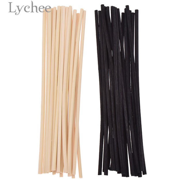 Lychee Life 20pcs 4mmx20cm Extra thick Rattan Reed Oil Diffuser Replacement Stick Incense Home Living Room Aromatic Incense