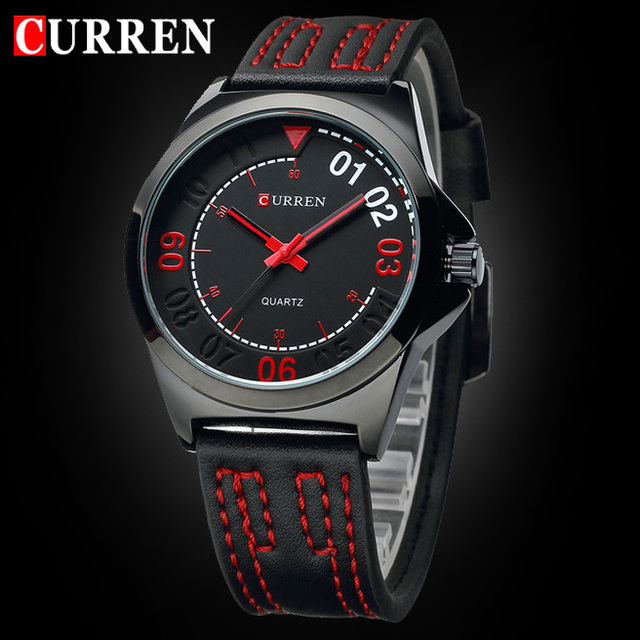 Hot sale! CURREN Men Quartz Watches Sports and Military Wristwatch PU Leather Strap Watch Casual Male Business Watch