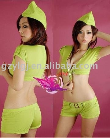 Wholesale Sexy Lingerie Green Cosplay Fancy Dress Police Party Costume Club Wear Bs8015