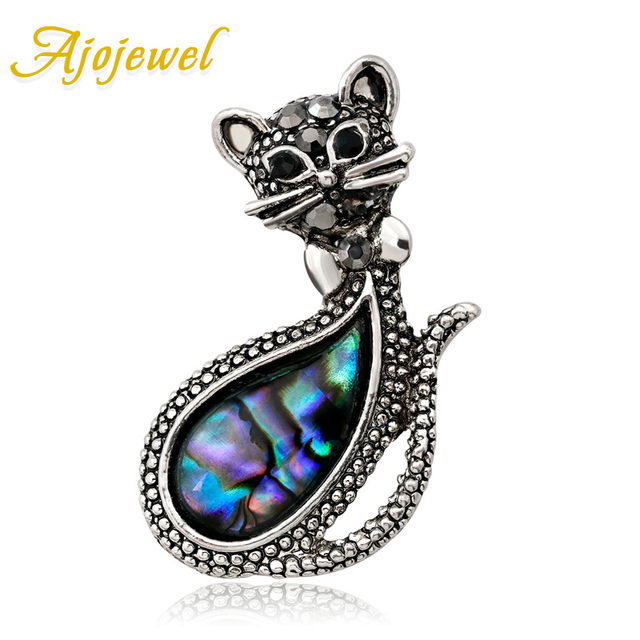 Ajojewel Cute Sea Shell Cat Brooch Rhinestone Vintage Retro Style Brooches Gifts For Girls Women Costume Jewelry Drop Shipping