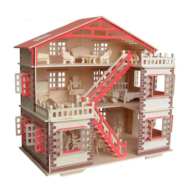 DIY dollhouse Wooden miniature Furniture toy for dolls assembled dolls house pretend play puzzle toys for children girls kids