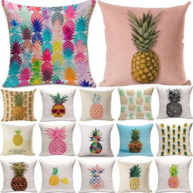 Pineapple Pattern Cotton Linen Throw Pillow Cushion Cover Seat Car Home Decoration Sofa Decor Decorative Pillowcase 40171