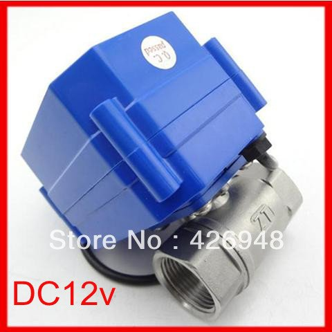 1/2'' 2 wires control 12V DC Stainless Steel Mini Electric Ball Valve, DN15 SS Motorized Ball Valve
